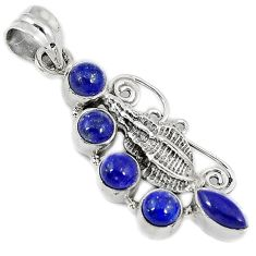 Natural blue lazuli lapis 925 sterling silver conch shell pendant jewelry h69084