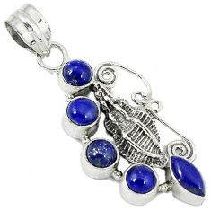 Natural blue lazuli lapis 925 sterling silver conch shell pendant jewelry h86678