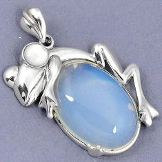 NATURAL BLUE OPALITE PEARL 925 STERLING SILVER FROG PENDANT JEWELRY H1176