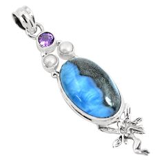 16.46cts natural blue owyhee opal 925 silver angel wings fairy pendant p49528