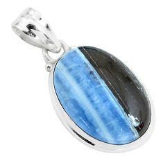 16.73cts natural blue owyhee opal 925 sterling silver pendant jewelry p46168