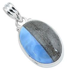 14.72cts natural blue owyhee opal 925 sterling silver pendant jewelry p59608