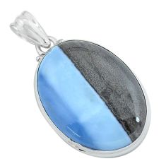 25.57cts natural blue owyhee opal 925 sterling silver pendant jewelry p59613