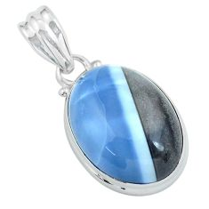 17.22cts natural blue owyhee opal 925 sterling silver pendant jewelry p59615