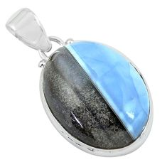 17.65cts natural blue owyhee opal 925 sterling silver pendant jewelry p59618