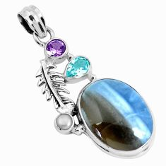16.46cts natural blue owyhee opal amethyst 925 silver feather pendant p49523