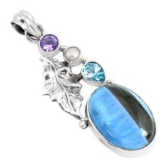 17.67cts natural blue owyhee opal amethyst 925 silver feather pendant p49527