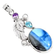 19.87cts natural blue owyhee opal amethyst 925 silver feather pendant p49530