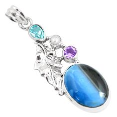 17.36cts natural blue owyhee opal amethyst 925 silver feather pendant p49536