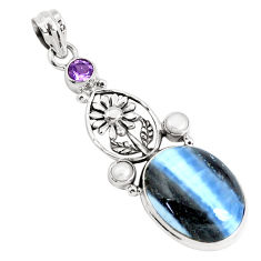 18.63cts natural blue owyhee opal amethyst 925 silver flower pendant p49531