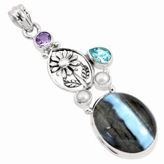 21.32cts natural blue owyhee opal amethyst 925 silver flower pendant p49546