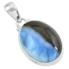 16.73cts natural blue owyhee opal oval shape 925 sterling silver pendant p59607