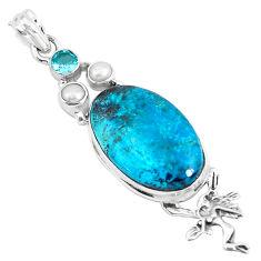 Natural blue peruvian chrysocolla 925 silver angel wings fairy pendant p49422