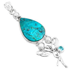 Natural blue peruvian chrysocolla 925 silver angel wings fairy pendant p49430
