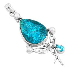 Natural blue peruvian chrysocolla 925 silver angel wings fairy pendant p49439