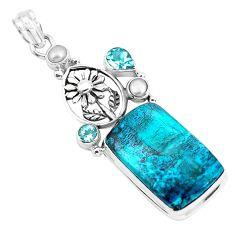 24.62cts natural blue peruvian chrysocolla 925 silver flower pendant p49431