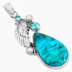Natural blue peruvian chrysocolla topaz pearl 925 silver feather pendant p49438