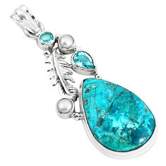 20.33cts natural blue peruvian chrysocolla topaz silver feather pendant p49432