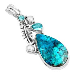 21.29cts natural blue peruvian chrysocolla topaz silver feather pendant p49434