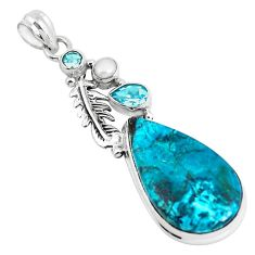 21.34cts natural blue peruvian chrysocolla topaz silver feather pendant p49435