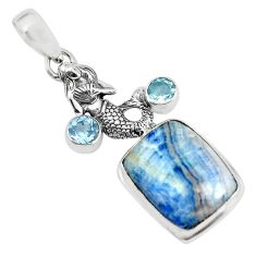 15.25cts natural blue quartz palm stone 925 silver fairy mermaid pendant p55349