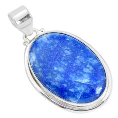 18.15cts natural blue quartz palm stone 925 sterling silver pendant p34101