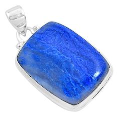 19.20cts natural blue quartz palm stone 925 sterling silver pendant p40707