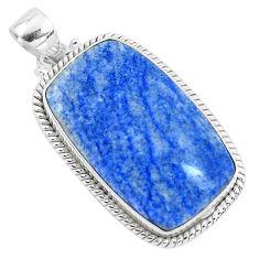 21.48cts natural blue quartz palm stone 925 sterling silver pendant p40711