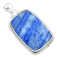 27.70cts natural blue quartz palm stone 925 sterling silver pendant p40714