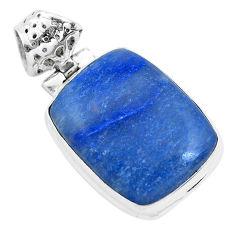 17.18cts natural blue quartz palm stone 925 sterling silver pendant p40715