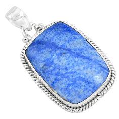 22.02cts natural blue quartz palm stone 925 sterling silver pendant p40718