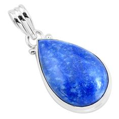14.20cts natural blue quartz palm stone 925 sterling silver pendant p46242