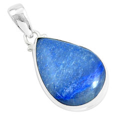 15.65cts natural blue quartz palm stone 925 sterling silver pendant p46244