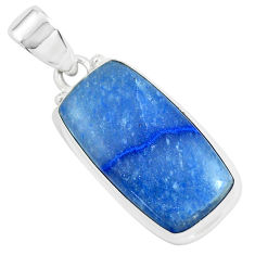 16.20cts natural blue quartz palm stone 925 sterling silver pendant p46247