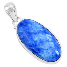 16.18cts natural blue quartz palm stone 925 sterling silver pendant p46250