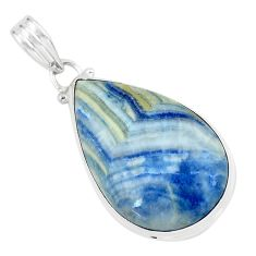 22.59cts natural blue quartz palm stone 925 sterling silver pendant p59661