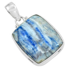 22.59cts natural blue quartz palm stone 925 sterling silver pendant p59665
