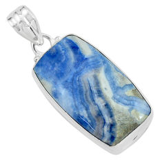 19.72cts natural blue quartz palm stone 925 sterling silver pendant p59667