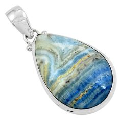 20.88cts natural blue quartz palm stone 925 sterling silver pendant p59668