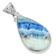 21.48cts natural blue quartz palm stone 925 sterling silver pendant p59670
