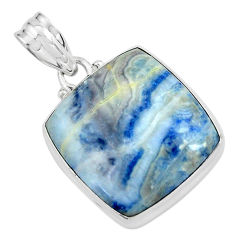 25.00cts natural blue quartz palm stone 925 sterling silver pendant p59671
