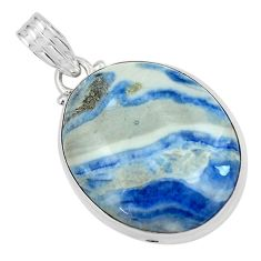 24.38cts natural blue quartz palm stone 925 sterling silver pendant p59674