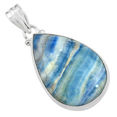 20.88cts natural blue quartz palm stone 925 sterling silver pendant p59677