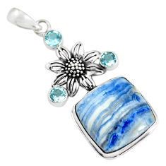 26.45cts natural blue quartz palm stone topaz 925 silver flower pendant p55348