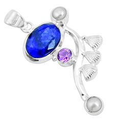 Clearance Sale- 8.22cts natural blue sapphire amethyst pearl 925 sterling silver pendant d31093