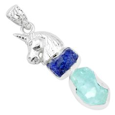 Natural blue sapphire rough aquamarine rough 925 silver horse pendant p35347