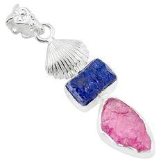 13.71cts natural blue sapphire rough ruby rough 925 silver pendant p35357