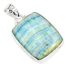 24.38cts natural blue scheelite (lapis lace onyx) 925 silver pendant p66306