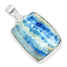 25.00cts natural blue scheelite (lapis lace onyx) 925 silver pendant p66308