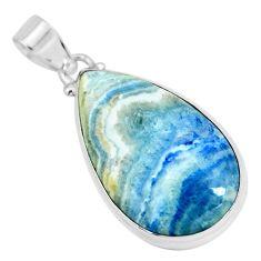 24.00cts natural blue scheelite (lapis lace onyx) 925 silver pendant p66310